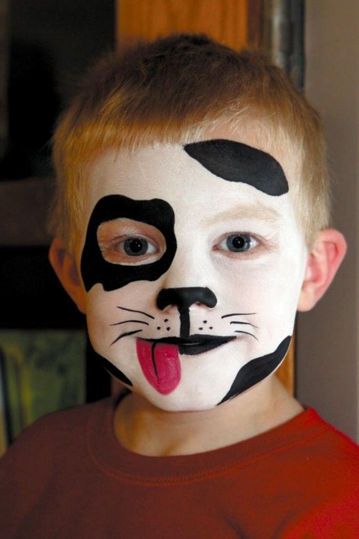 maquillage halloween garcon, peinture pour le visage tête de chien, petit garçon