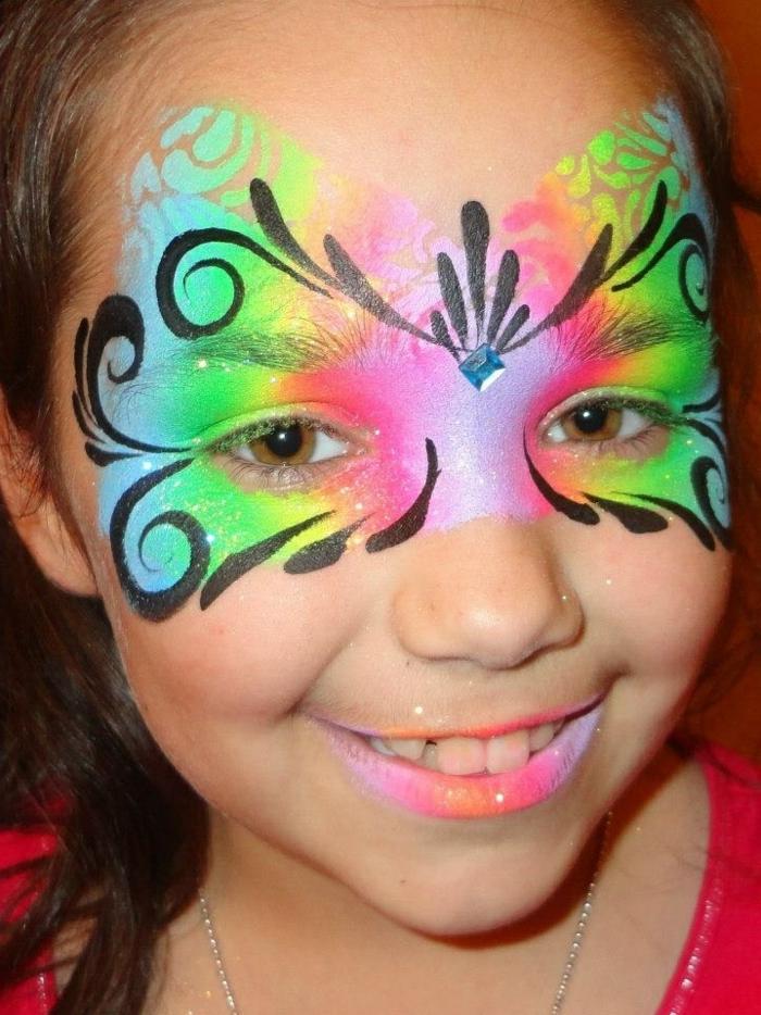 maquillage papillon, des ailes de papillon en couleurs vitaminées, visage aux couleurs de l'arc en ciel