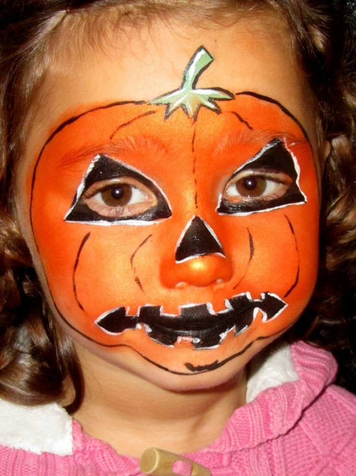 maquillage halloween bebe citrouille