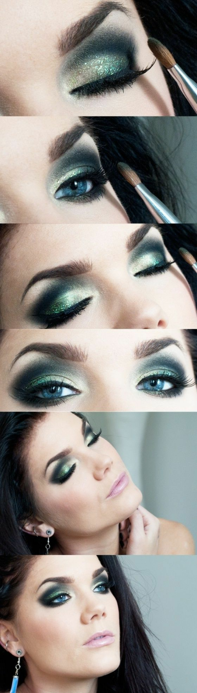 tutoriel maquillage avec des yeux au fard en vert et bleu avec du blanc et des lèvres en rose pale