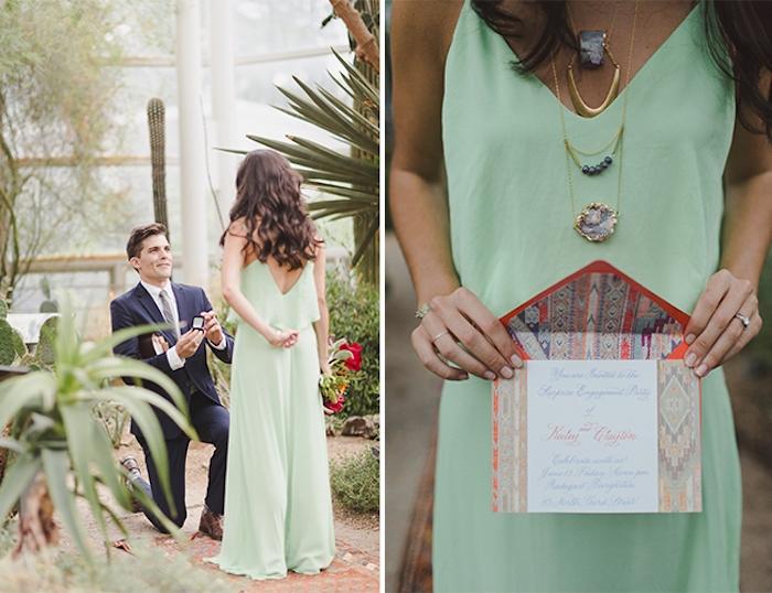 message pour mariage dans une jolie enveloppe, demande de fiancaille au milieu d un jardin botanique
