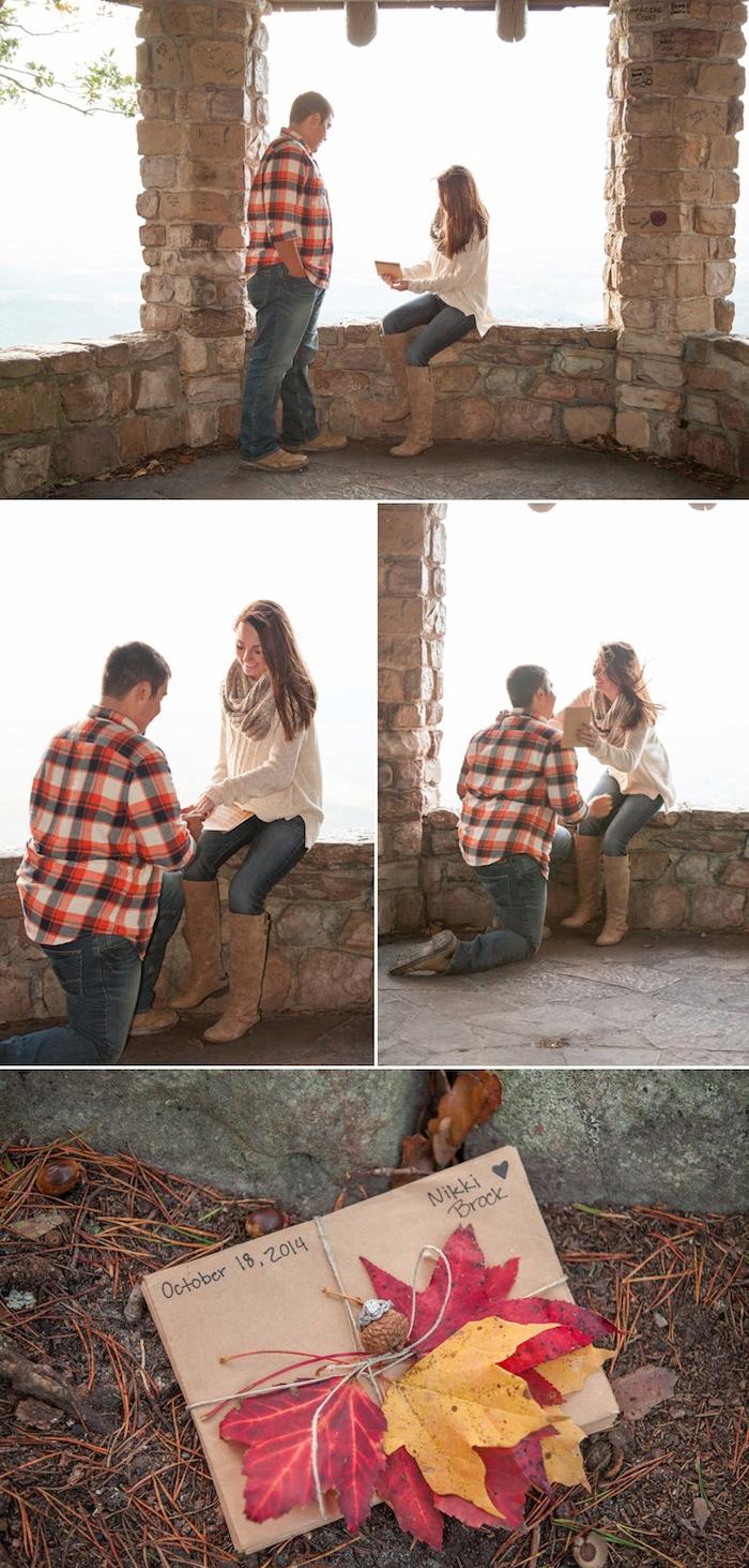 message pour mariage, une confession d amour et proposition mariage écrit dans une lettre avec decoration de feuilles mortes, ambiance vieux château