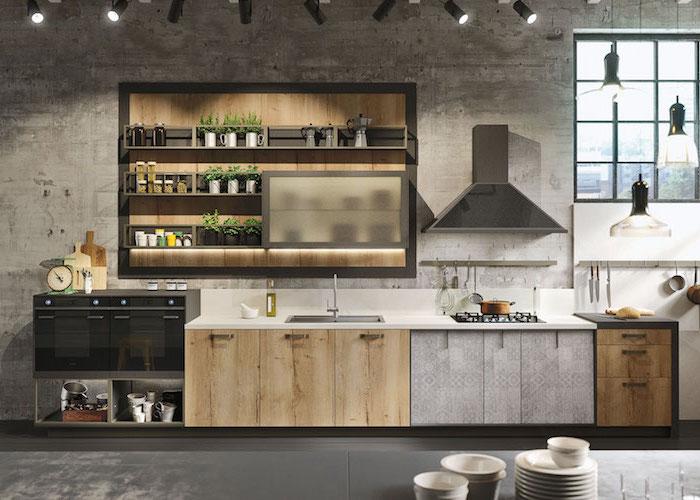 idee deco cuisine, murs gris béton avec lampes noires en style industriel, fenetre à carreaux noirs donnant sur la ville en haut