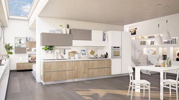 agencement cuisine, table à manger et chaises en bois peints en blanc, fenêtres de plafond rectangulaires