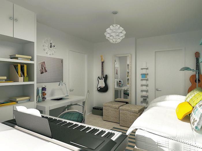 chambre à coucher blanche au tapis beige, coussins décoratifs en jaune, tapis rayé en beige et gris