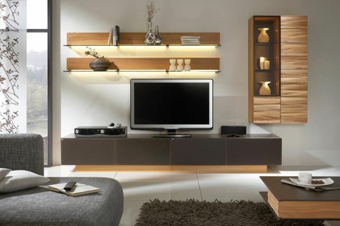 meubles contemporains, meuble de tv gris, écran plat, étagères en bois minimalistes, buffet suspendu