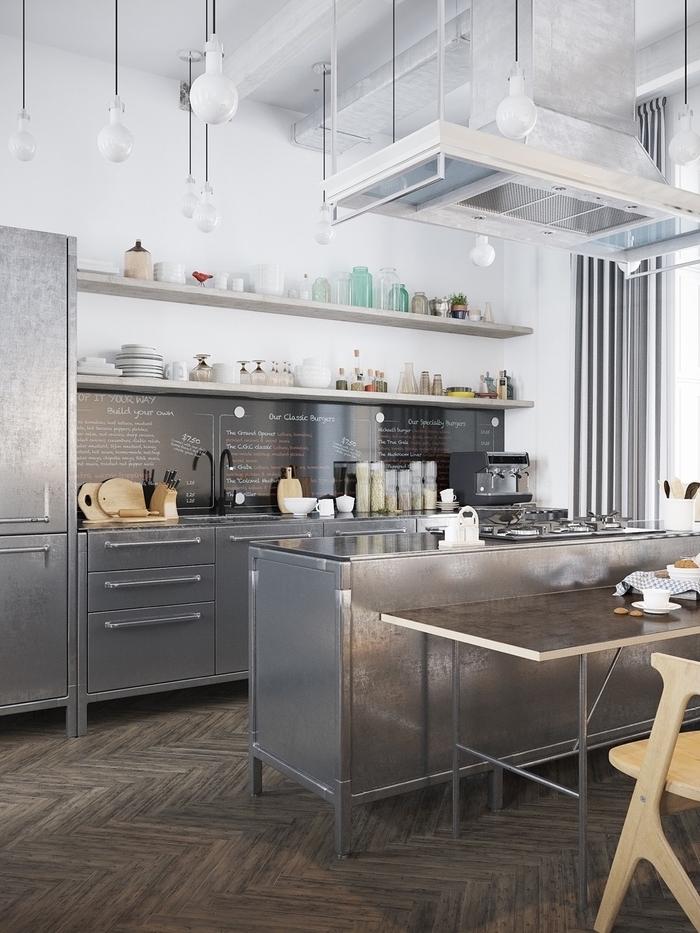 une cuisine esprit loft avec des meubles industriels en inox pour un esprit de design pro