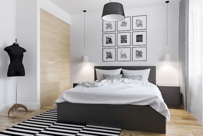 chambre gris et blanc, parquet clair, lit bois avec linge de it gris et blanc, deco murale dessins graphiques, tapis rayures noir et blanc