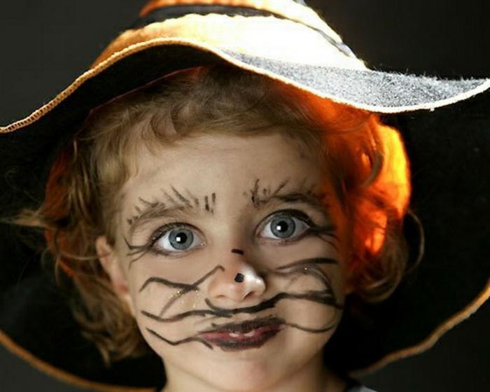 modele maquillage enfant, déguisement facile petite sorcière, idée maquillage pour enfant simple