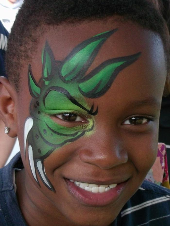 modele maquillage enfant, maquillage enfant dinosaure, idée de maquillage halloween