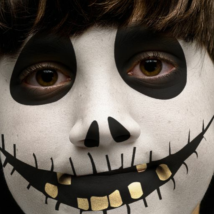 modele maquillage enfant, illustration terrifiante tête de mort