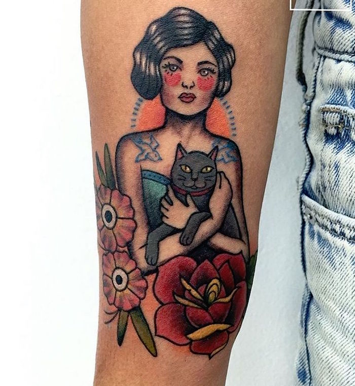 tattoo pinup a l'ancienne style tatouage de marin hipster