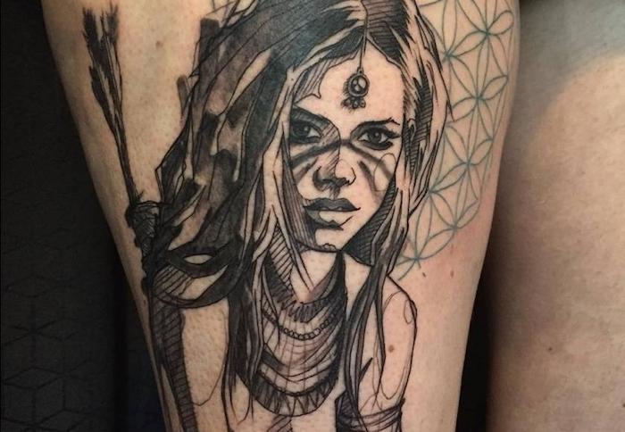 idée tatouage femme, art corporel en encre à motifs origami, dessin sur la peau visage de femme guerrière