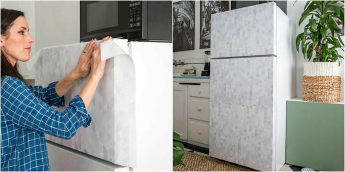 papier peint autocollant pour relooker son frigo, idée comment renover sa cuisine à moindre coût