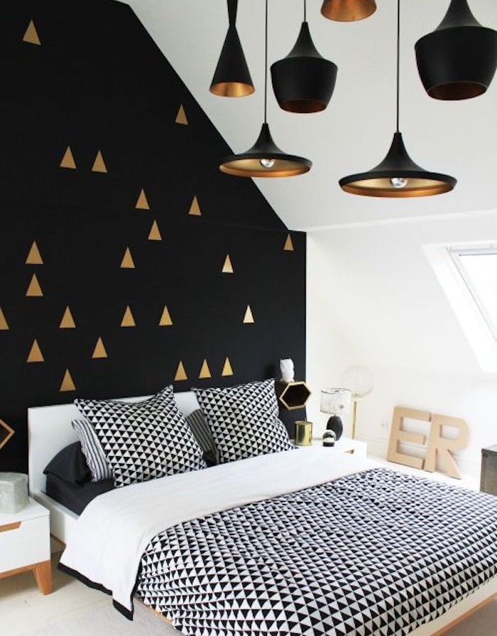best papier peint geometrique triangles noir et blanc gris. Black Bedroom Furniture Sets. Home Design Ideas