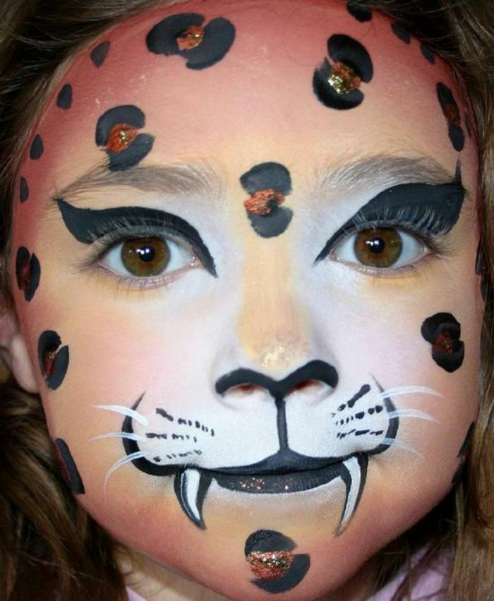 peinture visage, léopard vampire, maquillage créatif avec peintures pour visage
