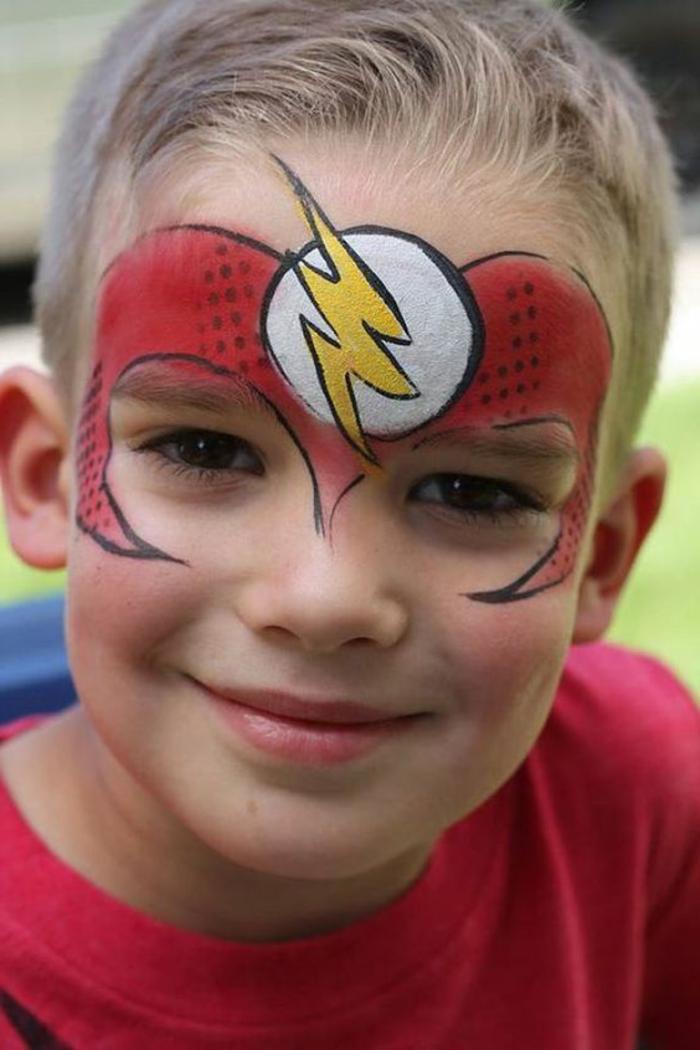 peinture visage pour petit garçonn déguisemetnspiderman et hulk original