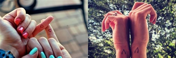 tatouage inseparable, petits dessin en encre coeurs sur les doigts, tatouage meilleures amies minimaliste