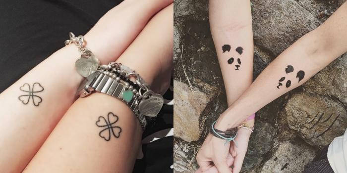 motif tatouage, art corporel en encre sur les mains, tatouage féminine à design panda et trefoil