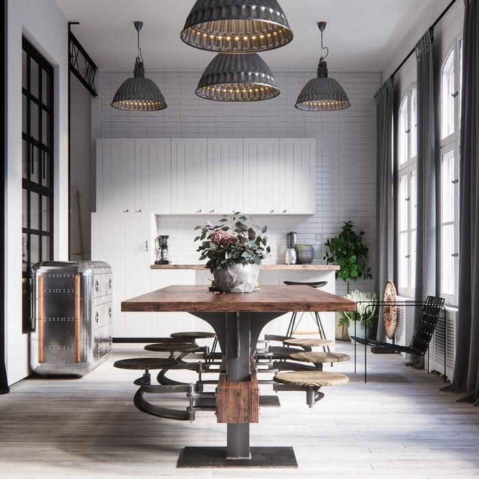 cuisine ouverte associant le design contemporain tout en blanc avec des meubles industriels esprit atelier