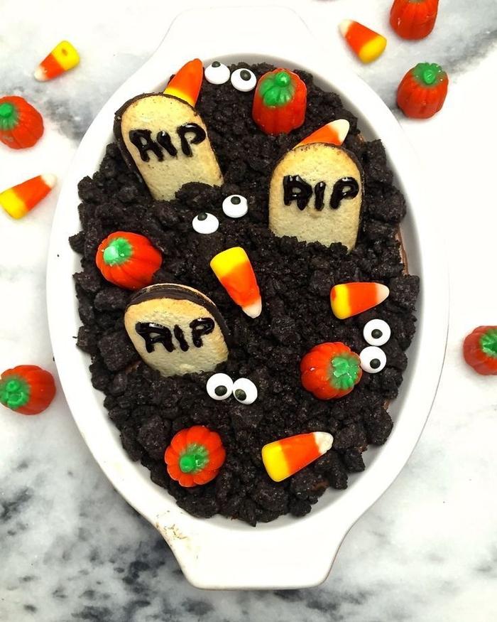 recette de cheesecake au chocolat façon cimetière halloween, recette pour halloween gourmande
