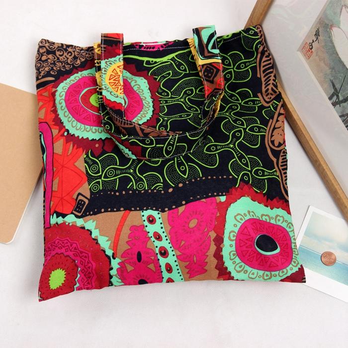 pochette ethnique chic, sac à main en toile, motifs bariolés, sac rectangulaire