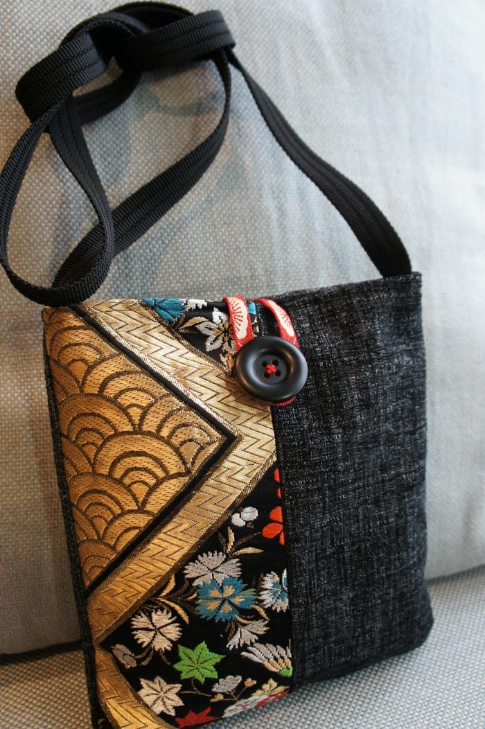 pochette noire, sac bandoulière fabriqué à la main, sac forme rectangulaire