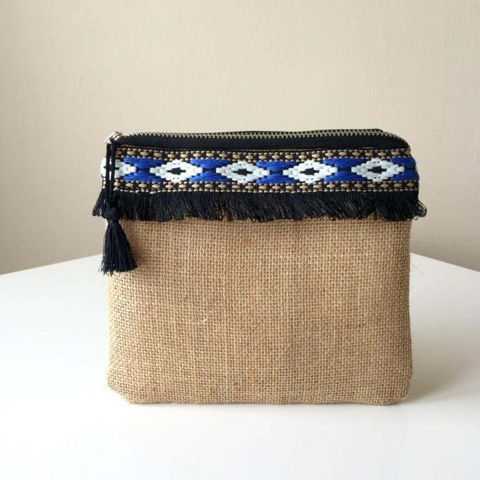 pochette soiree, sac style boho, sac en toile de jute couleur lin et bleu