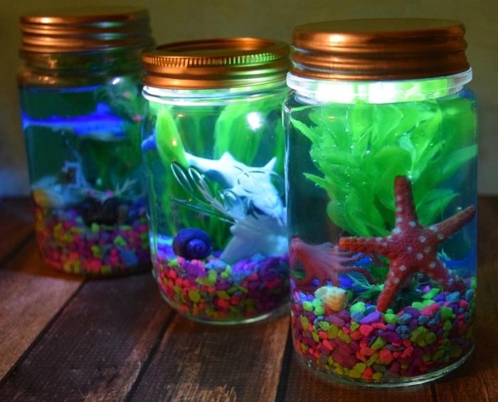 comment fabriquer une lampe aquarium lumineux avec un bocal recyclé et une mini-lampe led submersible