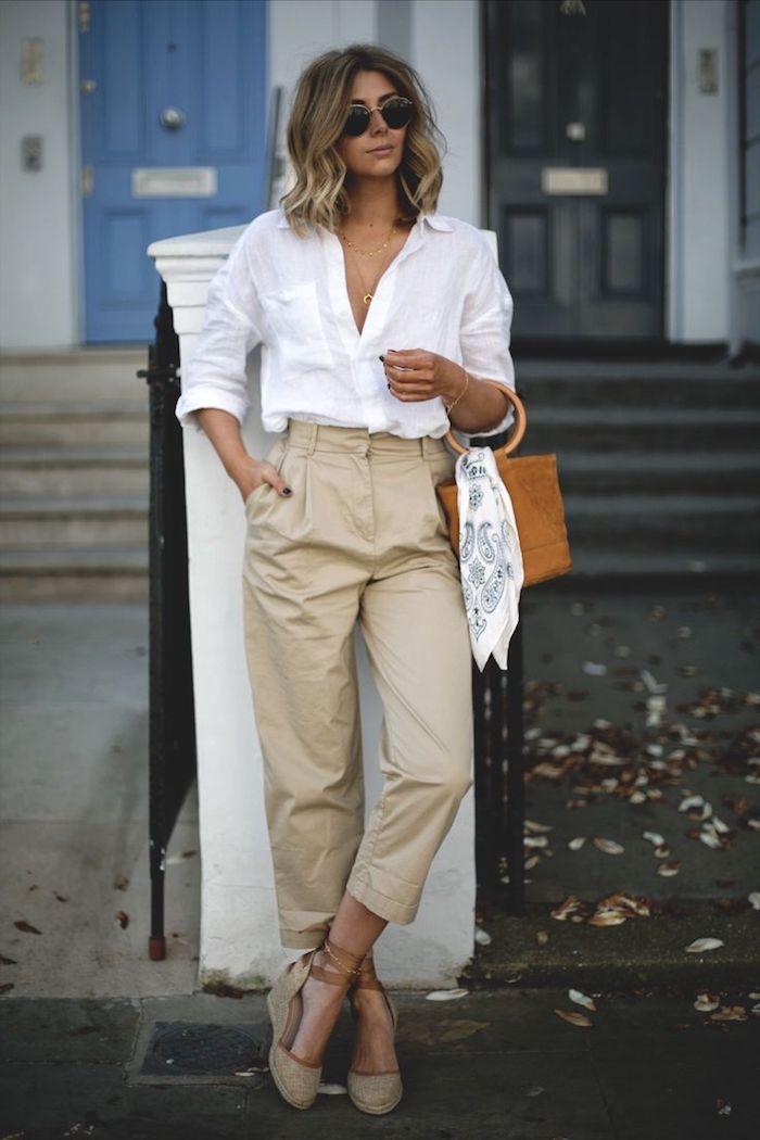 1001 tenues inspirantes pour savoir que mettre avec un pantalon beige - Comment porter un pantalon beige ...