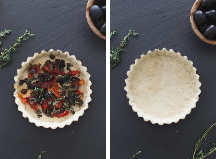 idée pour une recette halloween pour petits et grands, des tartelettes à la ricotta et aux olives déguisées en épouvantails