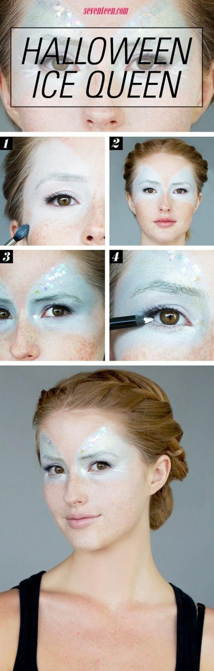 reine de neige, coiffure tresse cheveux roux, tutoriel pour maquillage