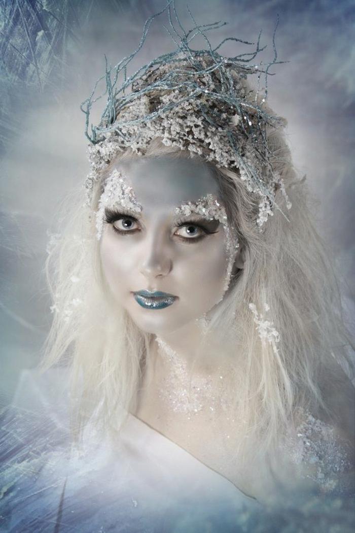 reine de neige, coiffure extravagante avec couronne originale, cristaux de visage