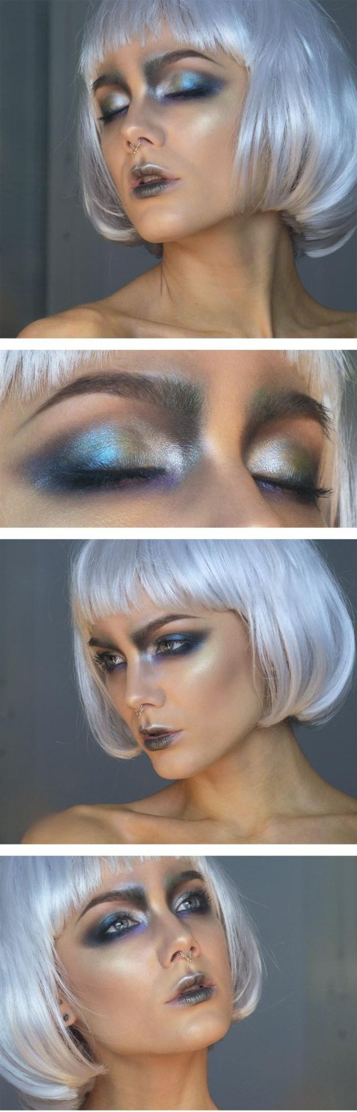 reine des neige, coiffure carré court frangé, paupières bleues argentées,