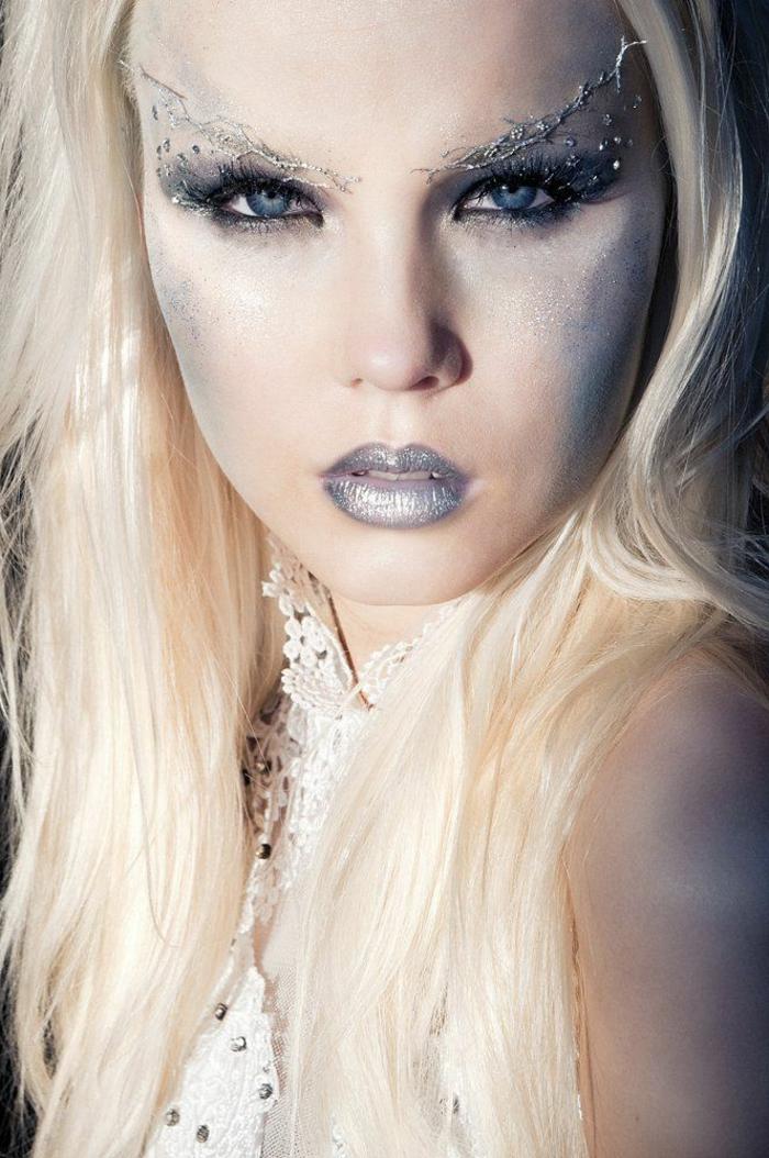 reine des neige, sourcils extravagants, lèvres en lilas argenté, maquillage des yeux bleus