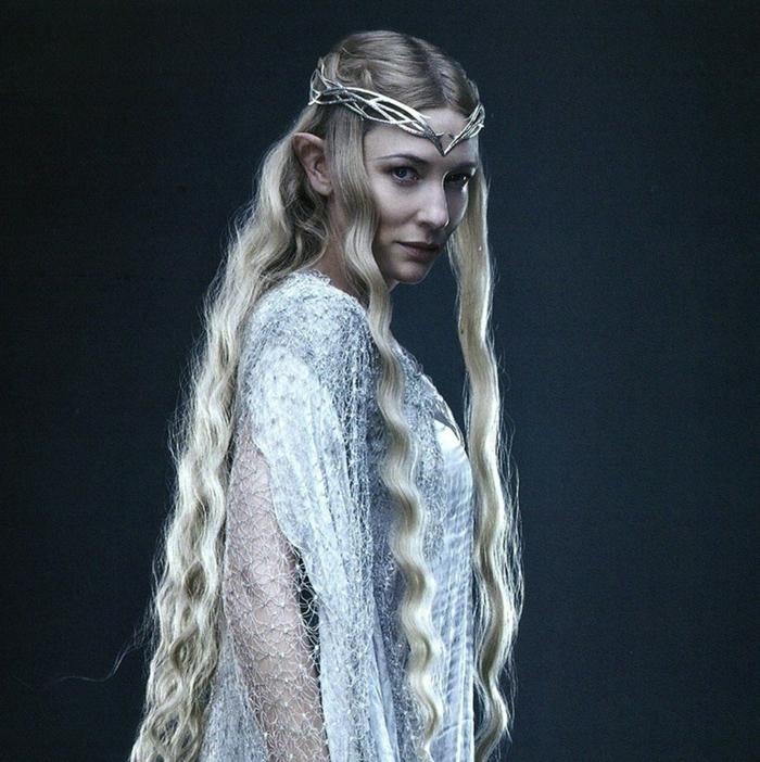 reines des neiges, Cate Blanchett déguisée comme Galadriel dans les Seigneiur des anneaux