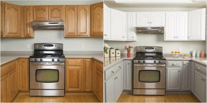 repeindre sa cuisine avant apres, placards d en haut repeint en blanc et placards d en bas, repeints en gris