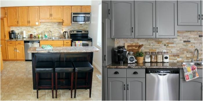 repeindre sa cuisine avant apres, façade cuisine bois, repeinte en gris, carrelage beige, crédence pierre anturelle