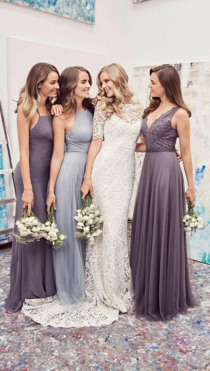 robe de soirée longue et tenue pour mariage robe ceremonie femme en lila