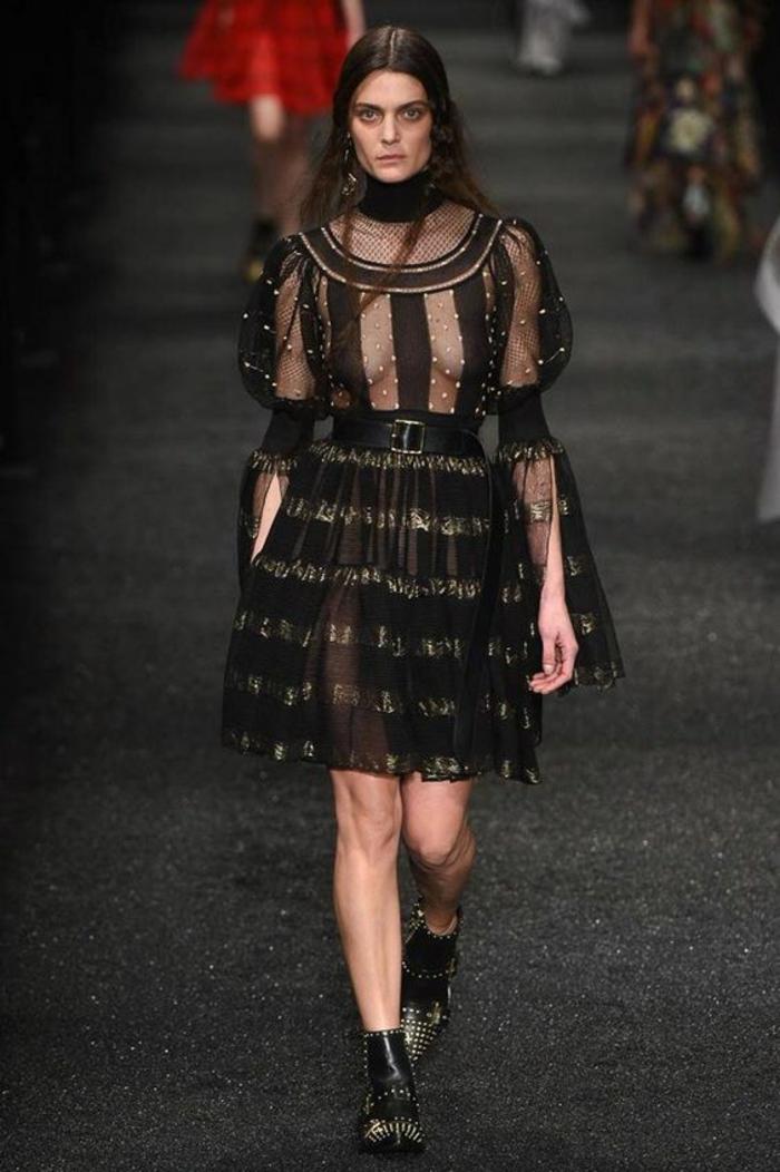 robe ceremonie femme robe évasée aux manches longues évasées parties semi transparentes en tafetas noir
