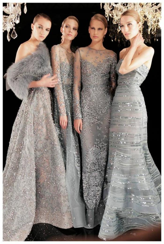 robe de soirée longue tenue pour mariage grise avec des cristaux blancs brillants