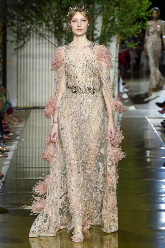 robes de soirée pour mariage robe longue de soirée en rose poudré avec des strass