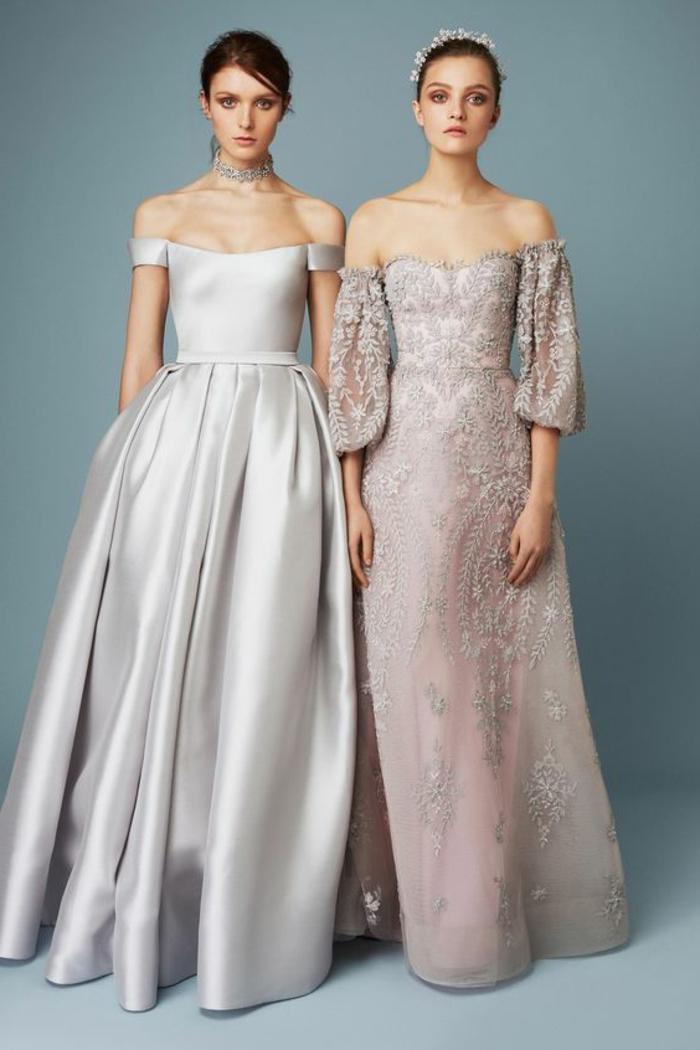 tenue pour mariage et robe de cérémonie femme en lila et blanc irisé avec des épaules tombantes