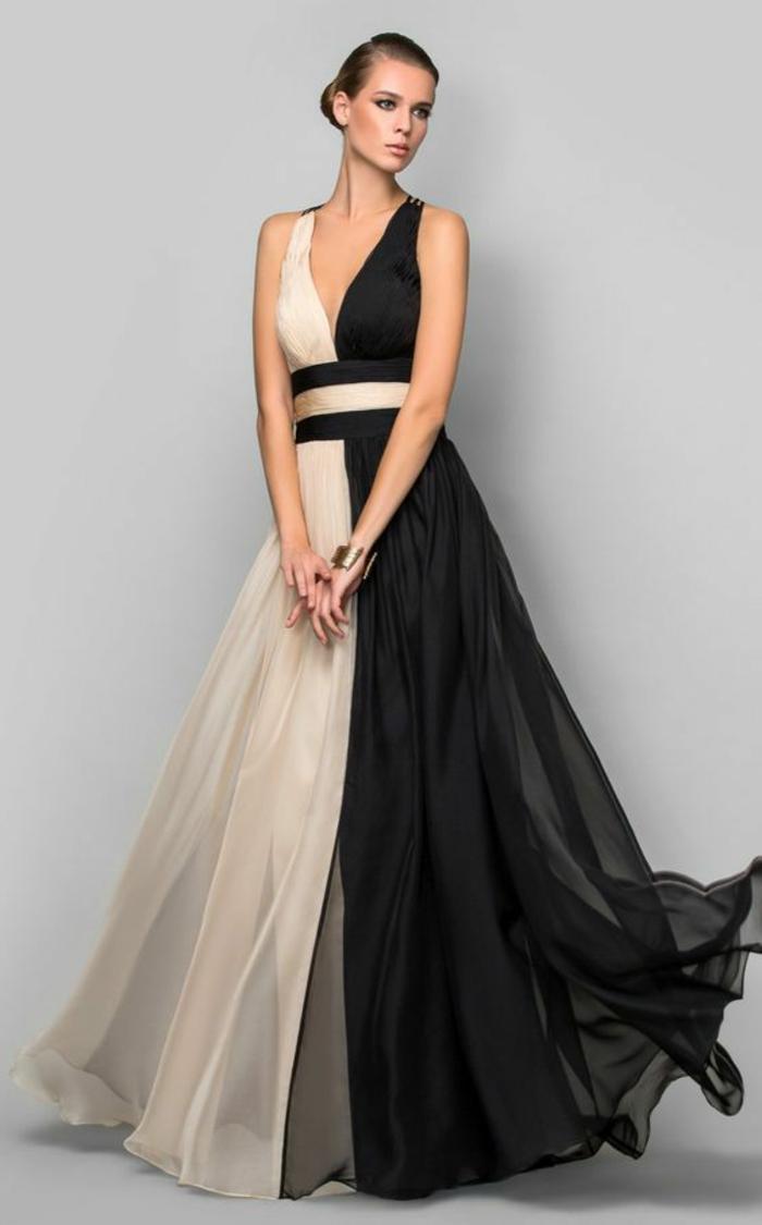 robe de soirée pas cher en noir et blanc avec décolleté en V et ceinture en tissu en noir et blanc