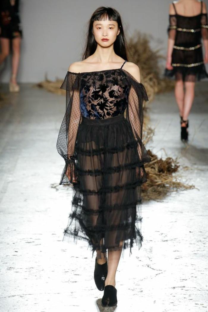 robe fluide robe longue de soirée Au jour le jour avec partie haute asymétrique une épaule