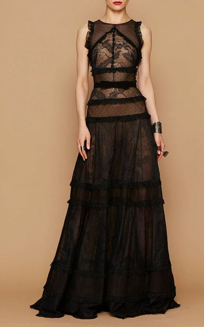 robe noire dentelle robe évasée fluide robe nouvel an sans manches style Empire