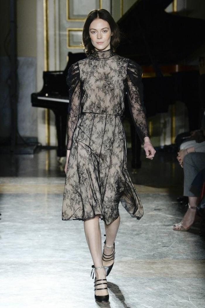 robe noire dentelle robe évasée grise avec des manches en organza et col haut longueur au genou