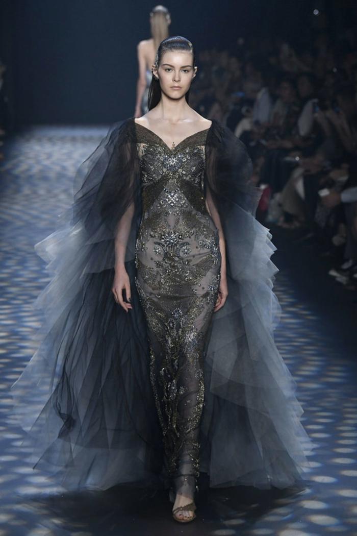 robe soirée longue robe de fete en dentelle Marchesa Notte avec des effets grisatres