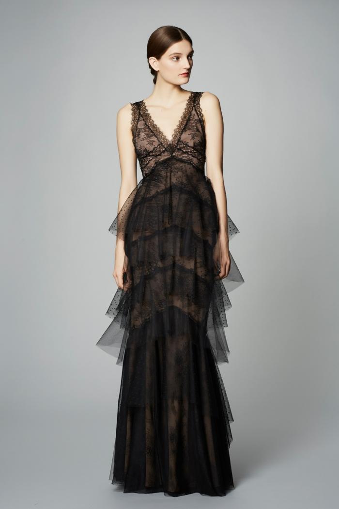 robe en dentelle robe de cérémonie femme sans manches buste sublimé aux effets ruches