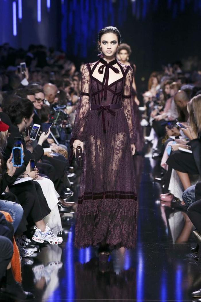 robe noire dentelle robe de soirée longue avec noeud élégant et fin en velours noir sur le cou